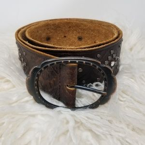 A & F | Brown Leather Studded Crystal Retro Belt